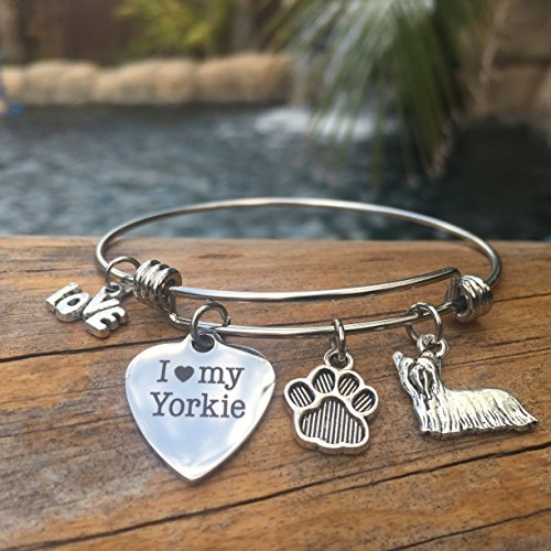 I Love My Yorkie Bracelet Yorkshire Terrier Charm Bangle for Dog Mom Pet Jewelry ()