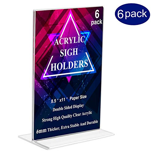 Days Double Sided Paper - Acrylic Sign Holders, MeetU 8.5 x 11 Letter Size Ad Frame Double Sided Plastic Picture Frames Desktop Photo Frames Thick T Shape Vertical Advertisement Display Menu Card Holder (Pack of 6)