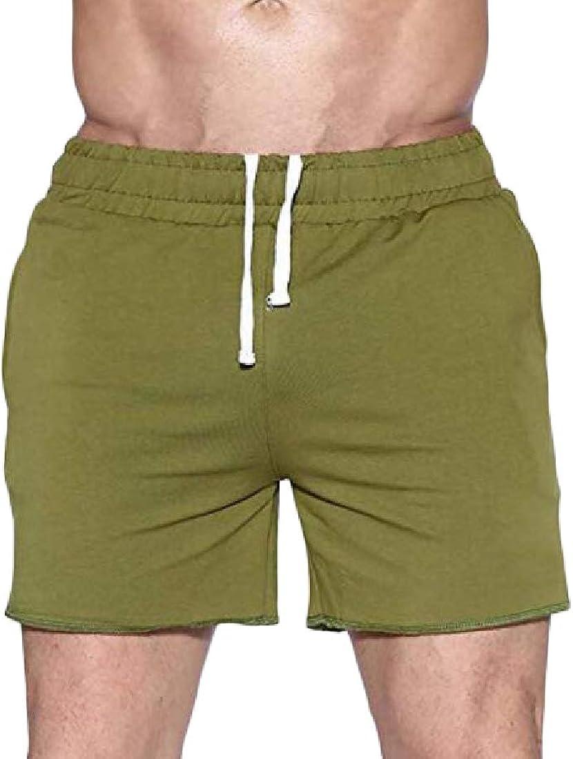Hajotrawa Mens Gym Breathable Casual Strings Running Summer Athletic Short Pants
