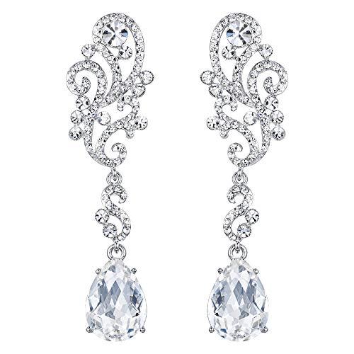 BriLove Wedding Bridal Dangle Earrings for Women Crystal Floral Scroll Chandelier Earrings Clear ()