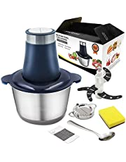Electric Food Processor, Electric Meat Grinder,Mini Chopper,2L Food Grade 304 Stainless Steel Bowl, 4 Sharp Blades,300W Max Motor Efficient Kitchen Appliance, Fast & Slow 2-Speed Food Processor