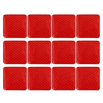 X AUTOHAUX 12pcs Automotive Reflective Stickers Night Visibility Safety Reflective Rear Bumper Tape Universal Adhesive for Car 5 x 5cm Red: Automotive