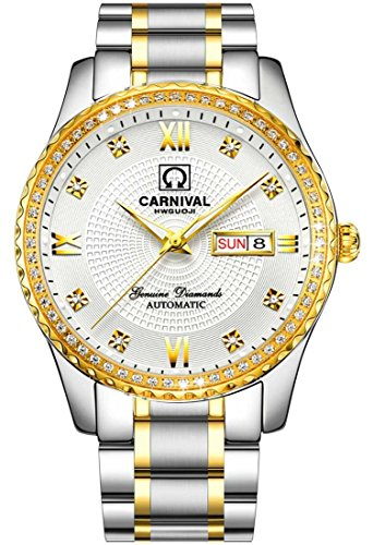 Swiss Made Men Luxury Gold Watches,Automatic Analog Display Calendar Week Luminous Gold Stainless Diamond Watches (White)