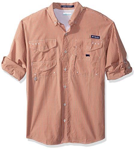 Columbia Mens Super Bonehead Classic Long Sleeve Shirt, Island Orange Gingham, Large