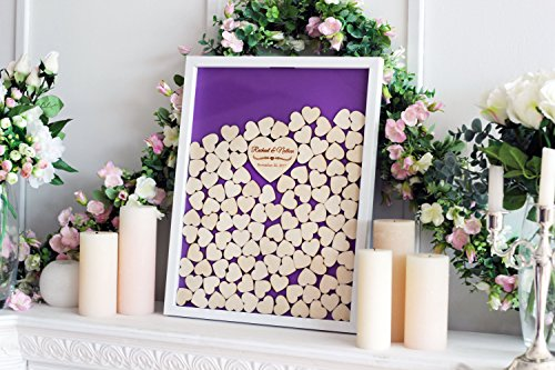 (Purple Wedding Guest Book Alternative Drop Top Wooden Frame Custom Name Guestbook Wedding Gifts Wedding Favors 16 x 20 inch with 150 Hearts)