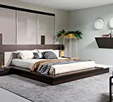 Modrest Torino Contemporary Brown Oak & Grey Platform Eastern King Bed w/ Lights Brown/Veneer/Eastern King For Sale