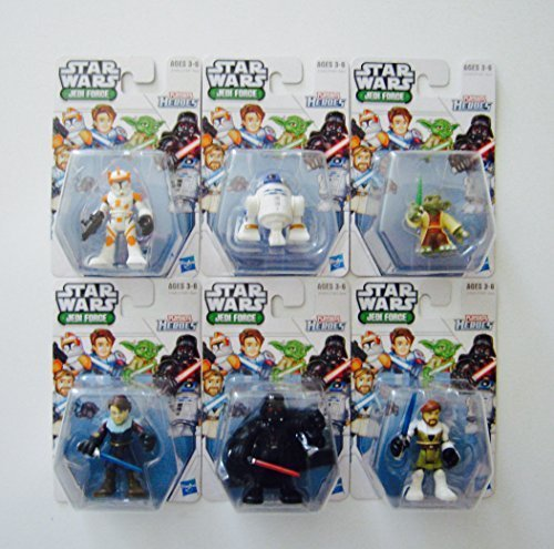 Playskool Heroes Star Wars Jedi Force Bundle, Complete Set of 6, including: Clone Commander Cody, R2-D2, Yoda, Anakin Skywalker, Darth Vader & Obi-Wan Kenobi