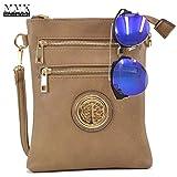 Fashion Crossbody Bag Crossbody Purse Crossbody Bag for Women~Designer Fashion Wristlet Wallet Multi Pocket Clutch Purse by MMK Collection Purse (Coffee/Blue)