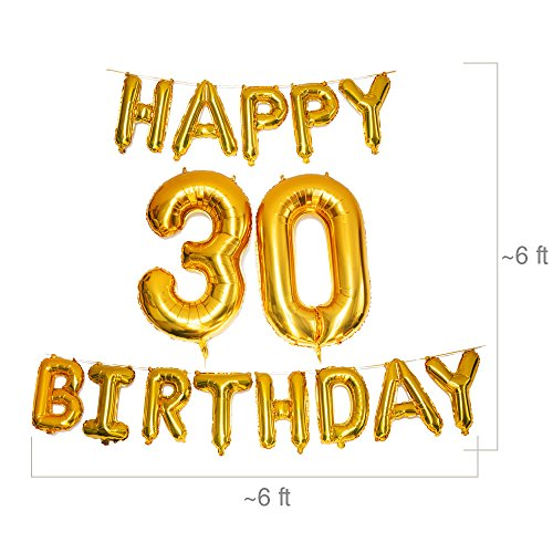 Ultimate Happy 30th Birthday Balloons Set By PartyGraphix 45 Piece Thirtieth Kit With