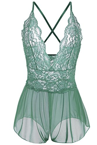 Avidlove Women Sexy Lingerie Lace See-through Babydoll Open Crotch Pant Dress (M = US S, Green)
