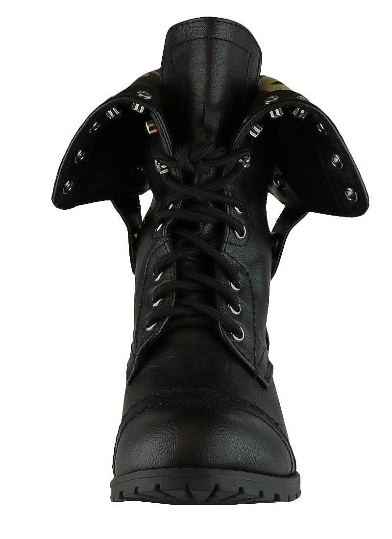 2e288e6bc8e Cambridge Select Women's Fold-Over Cuff Lace-Up Chunky Stacked Heel Combat  Boot