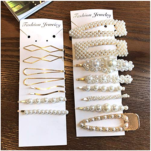 16 Pcs Pearl Hair Clips for Women Girls- Bride/Wedding/Fashion Beauty/Gifts,Simple Hair Clips Bling Grace Charm