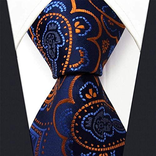 1ba3a5d77148 Shlax & Wing Extra Long Mens Necktie Paisley Navy Orange Silk Tie Classic  For Men