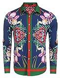 COOFANDY Mens Fashion Long Sleeve Luxury Print Shirts,Blue,Large
