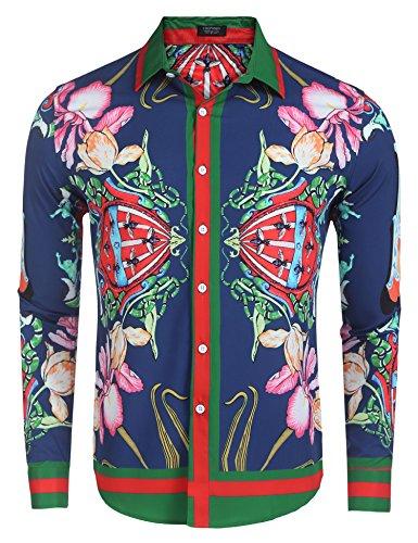 COOFANDY Mens Fashion Long Sleeve Luxury Print (Pattern Pants Shirt)