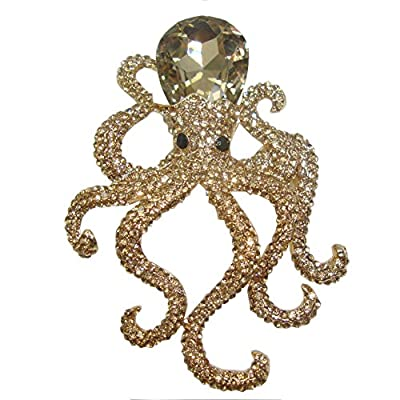 Wholesale TTjewelry Vintage Octopus Topaz Austria Crystal Pendant Brooch Pin Animal Gold Tone supplier rGU90t10