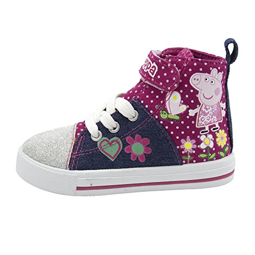 Peppa Pig Denim And Pink Toddler High Top Sneakers Size 7 - Baby High Top Shoes Pink