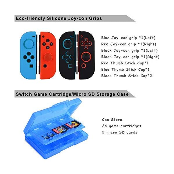 Accessories Kit for Nintendo Switch Games Bundle Wheel Grip Caps Carrying Case Screen Protector Controller 6