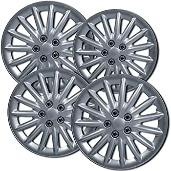 16 inch Hubcaps Best for 2011-2017 Volkswagen Jetta - (Set of 4) Wheel Covers 16in Hub Caps Silver Rim Cover - Car Accessories for 16 inch Wheels - Snap On ...