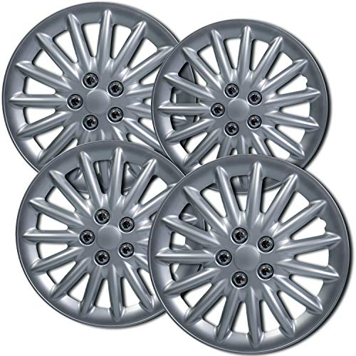 16 inch Hubcaps Best for 2011-2017 Volkswagen Jetta - (Set of 4) Wheel Covers 16in Hub Caps Silver Rim Cover - Car Accessories for 16 inch Wheels - Snap On Hubcap, Auto Tire Replacement Exterior Cap)