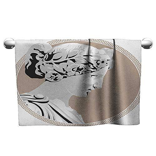 Easter Towel W24 x L8 Toga Party,Ancient Statue European Folk Beauty Muse Figure Divine Woman Picture Print, Pale Grey Tan Pattern ()