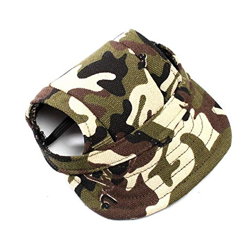- BIBSS Summer Pet Dog Hat Cap Outdoor Dog Baseball Cap Canvas Small Dog Sunscreen Accessories (M,Camouflage)