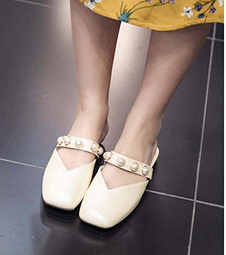 SHEO sandalias de tacón alto Señoras cabeza plana Baotou antideslizante zapatillas salvajes salvajes Blanco