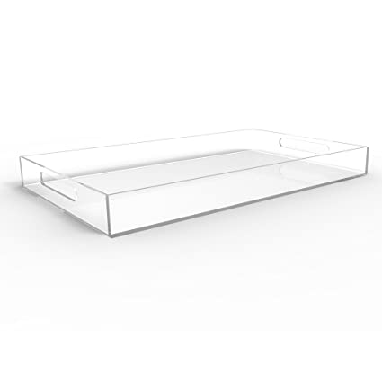 CLEAR SERVING TRAY   Spill Proof   20u0026quot; Large Premium Acrylic Tray For Coffee  Table
