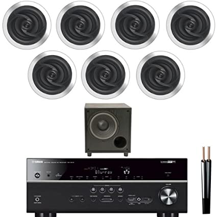 7.2 Surround Sound Onkyo Amplificador, 7 JBL Altavoces de techo, 100m Cable & Sub