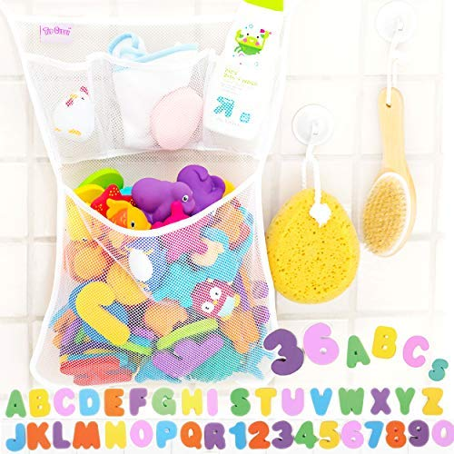 "Tub Cubby Bath Toy Organizer +36 ABC 123 Soft Foam Bath Toys Letters & Numbers + Quick Dry Storage Net + Lock Tight Suction Cups & Stickers Hooks - Sure Not to Fall. (Original - 14x20"")"