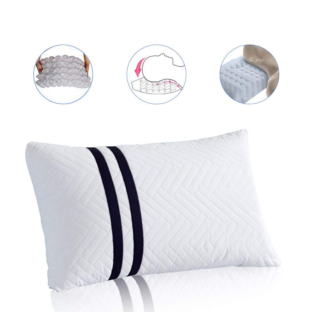 JOLLYVOGUE Spring Bed Pillows- Neck Support Neck Pain-Relieving Sleeping Pillow 60 Heigh Adjustable Springs Side Sleeping,100% Cotton, Breathable, Hypoallergenic