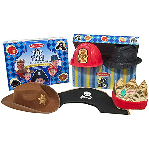 Melissa & Doug Top This! Dress-Up Hats Role Play Costume Collection - 5, Including Cowboy, Pirate (Costume Storage compare prices)