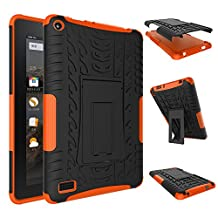 Fire 7 inch Case,YiLin [Orange] [Shock Absorbent] Premium Dual Layer Defender Protective Rugged Cover with Kickstand for Amazon Fire 7'' Tablet 2015 Version