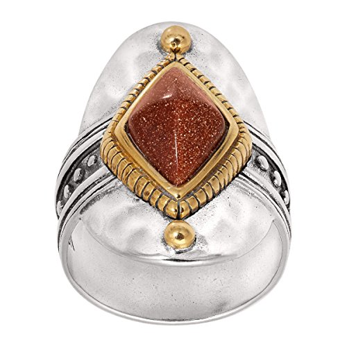 Silpada Warm Hues Created Goldstone Wide Face Ring in Sterling Silver & Brass