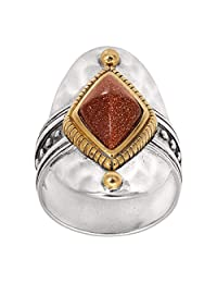 Silpada 'Warm Hues' Brass, Goldstone, and Sterling Silver Ring