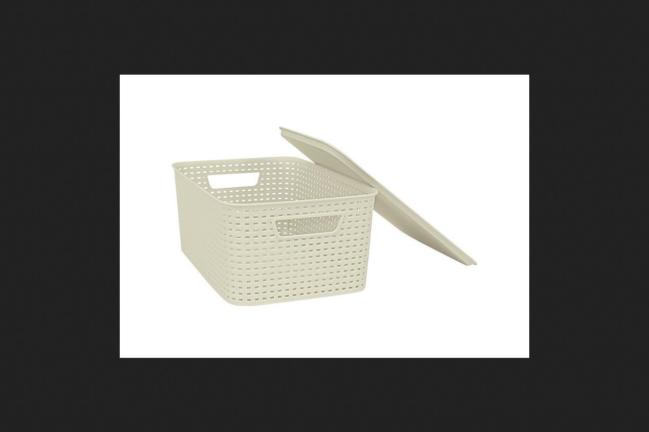 Homz 2211007 Woven Bin With Lid, Large, 8-3/4'' H X 16-3/4'' W X 11-1/2'' D (Pack of 12)