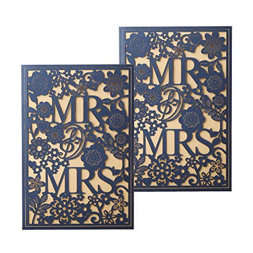 Gold Fortune 50PCS Blue Laser Cut Wedding Invitation Cards Kit with Hollow Flora Favors