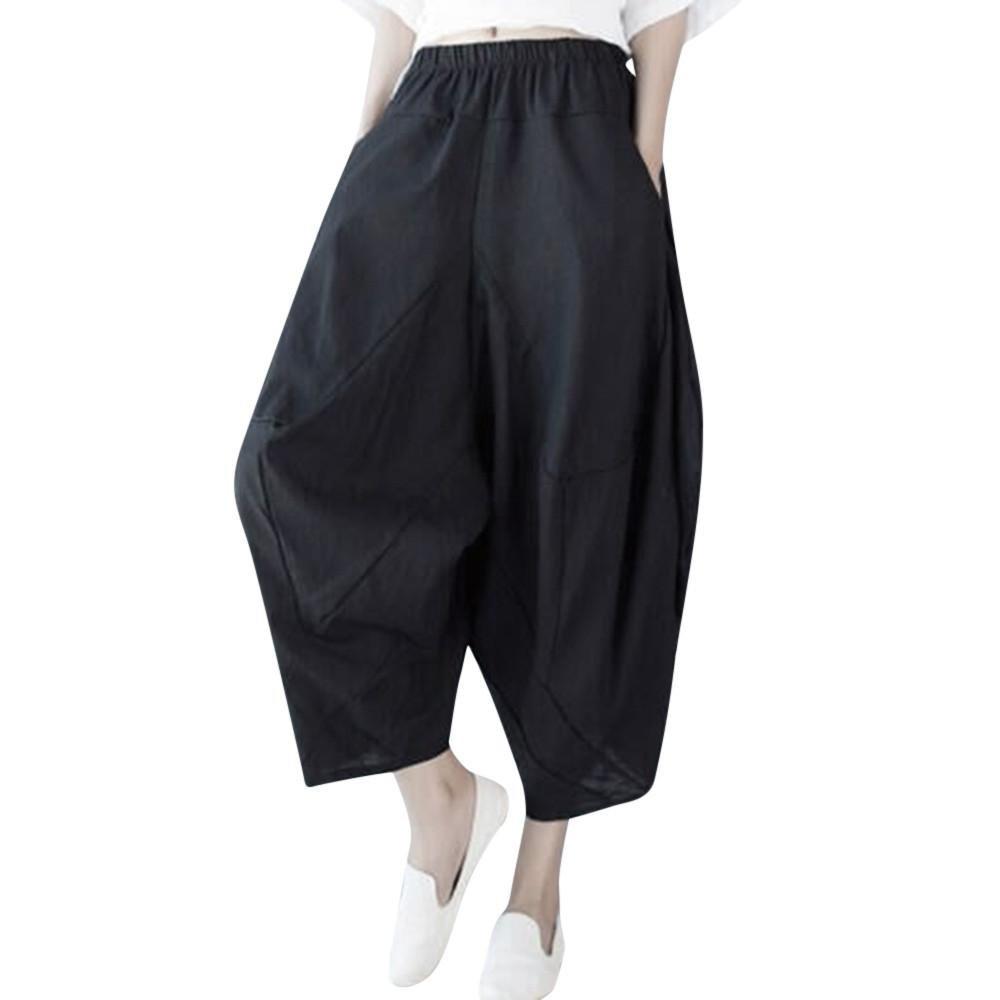 Women's Harem Pants,Casual Solid Oversize Loose Vintage Cotton Linen Trouser by-NEWONESUN