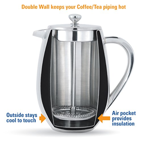 Coffee Maker Keeps Coffee Hot : MIRA Double Wall Tea & Coffee Brewer French Press Stainless Steel Insulated Coffee Pot & Maker ...