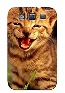 Galaxy S3 Hard Back With Bumper Silicone Gel Tpu Case Cover Cats Animals Tongue Kiens