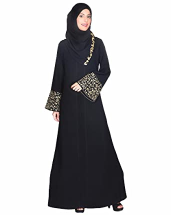 e7e7c8f379b26 Modest Forever Black Abaya With Gold Zari Embroidered Bell Sleeve  (P281-S_Black_S)