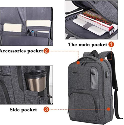 Männer USB Sockel Geschäft Laptop Rucksack Wasserdicht Diebstahlsicherung Schultern Rucksack 001