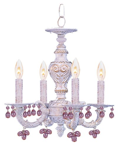 Sutton Wrought Iron Chandelier Draped with Clear Murano Crystal Drops ()