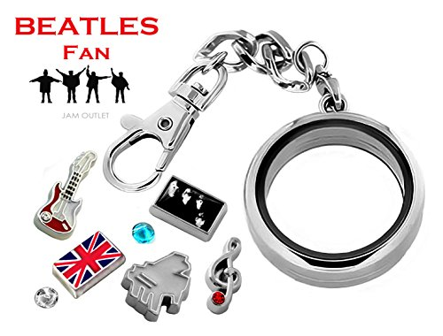 BEATLES Fan DETACHABLE Glass Locket Key Chain Pendant Set...