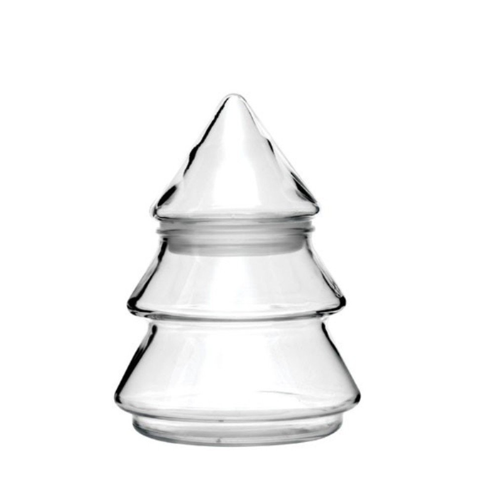 Glass Christmas Tree Shaped Candy Dish, Clear Glass Holiday Tree 6 1/2''