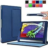 Infiland Lenovo Yoga Tablet 2 8 Funda Case-Folio PU Cuero Cascara Delgada con Soporte para Lenovo Yoga Tablet 2-8 20,32 cm (8 pulgadas) Tablet-PC Android y Windows Versión(con Auto Reposo / Activación Función)(Azul Oscuro)