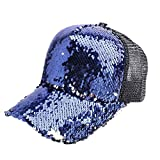 CHARMGIRL Women's Baseball Cap High Ponytail Messy Bun Magic Sequins Mesh Hip Hop Hat