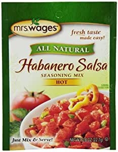 Mrs. Wages Habanero Salsa Mix, 0.8-Ounce Pouches (Pack of 12)