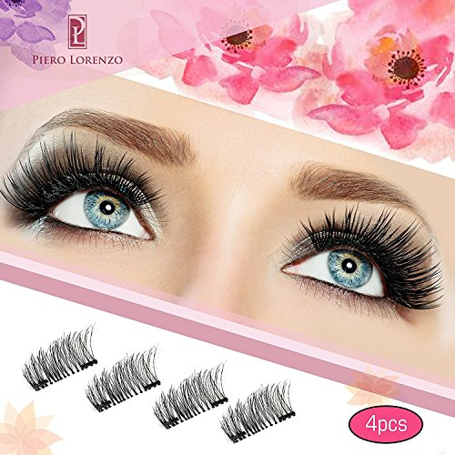 Magnetic Eyelashes Dual Magnet Glue-free 3D Reusable Full Size Premium Quality Natural Look Best False Lashes(4 Pieces)-2018 by Bangbreak