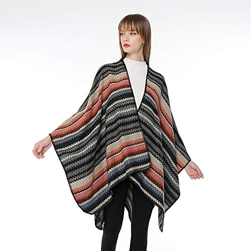 (Bishelle Womens Cape Poncho Coat Ladies/Womens Knitting Keep Warm with Multicolor Gradient Pattern Shawl Wrap Cardigan Cloak Jacket for Winter (Color : D))
